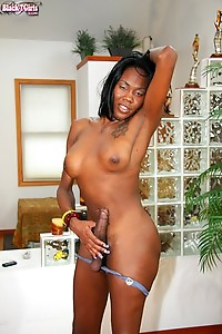 Black TGirl China Doll is quite the performer.The only thing harder than this shemale's nipples is h
