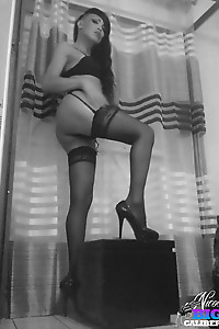 B&W Pics of a very Hung MILF Shemale
