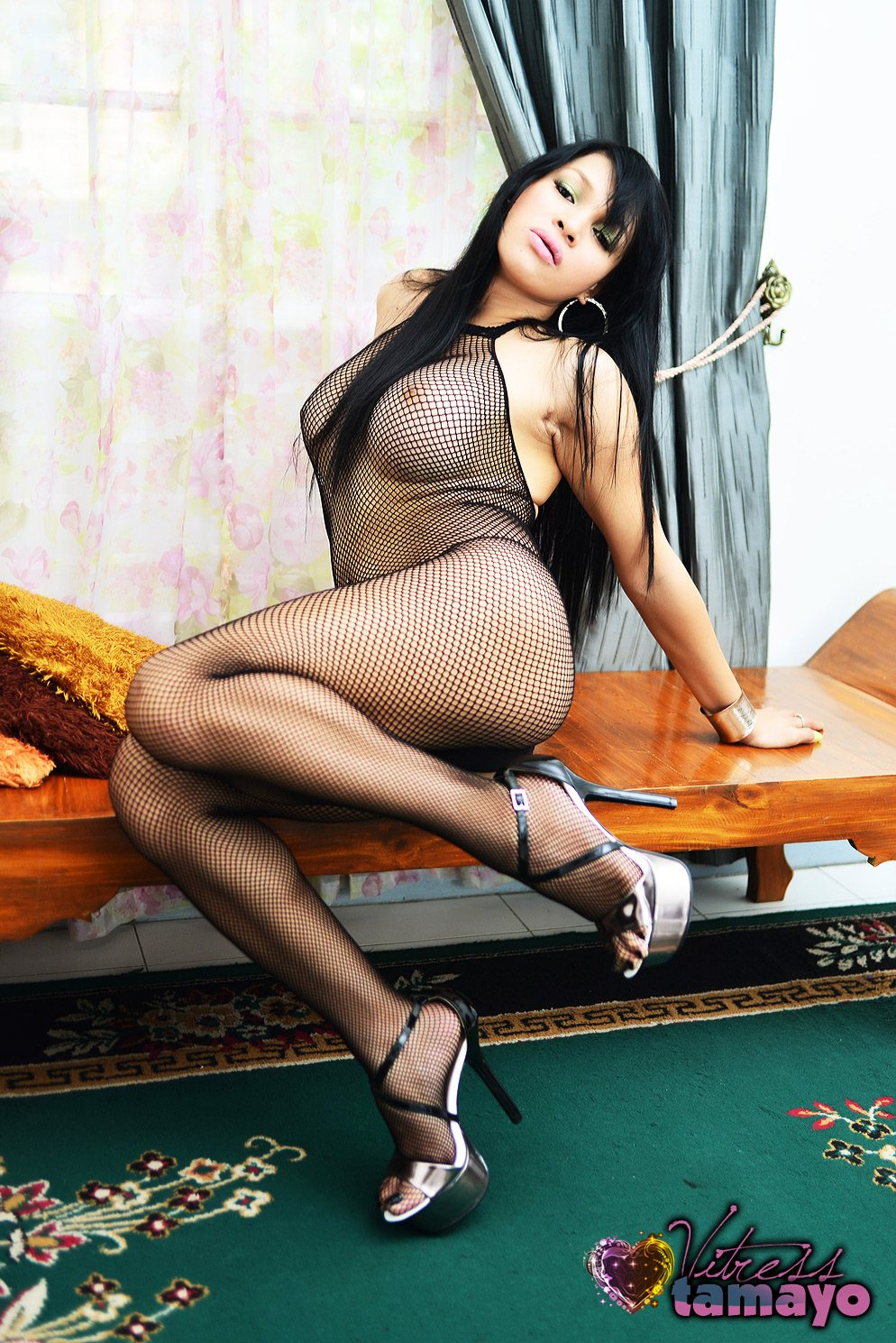 from Santino shemale wearing fishnet body