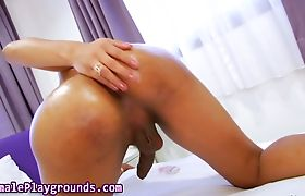 Cute asian ladyboy spurts