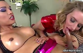 Tranny girl Jessica Fox pounds Mona Wales pussy in hardcock sex