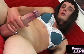 Hung femboy rubbing cock seeds on herself