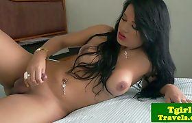 Busty latina tgirl jerking cock until cumshot