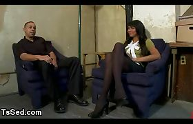 Busty tranny Yasmin Lee fucks guy on a table in office