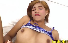 Hard cock man fucked big titted ladyboy in her juicy asshole