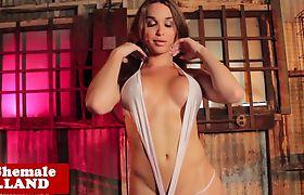 Curvy bigtitted exotic tgirl masturbates