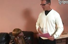 Big tits black TS Paris Pirelli gets analized on a couch