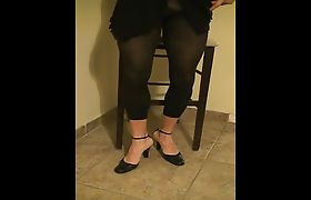 black leggings and heels