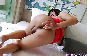 Sexy ladyboy Layla E gets ass fuck with a sex dildo