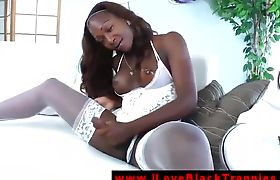 Black hot shemale amateur masturbates