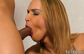 Round ass blonde tgirl ass licked then deepthroat and analed
