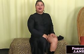 Chubby femboy jerking during solo session