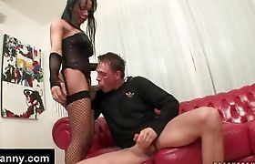 Ladyboy in lingerie getting sucked