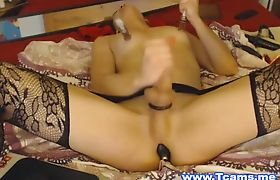 Horny Shemale Fucks Herself with Dildo