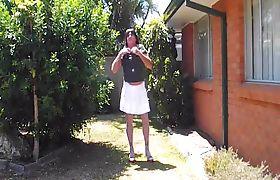 sissy slutbecky strips outside