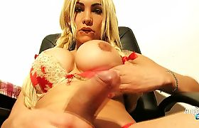Angeles Cid sex play at the table