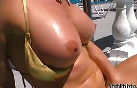 Super hot shemale Delia DeLions fucks a sexy babe