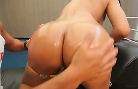 TS Bruna Butterfly Strips and Sucks a Cock
