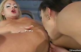 Asian tranny banging blond pussy