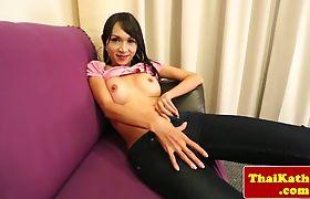 Sensual busty thai ladyboy sweet teasing