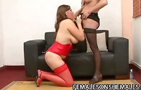 Horny shemale punishing a fat wet pussy