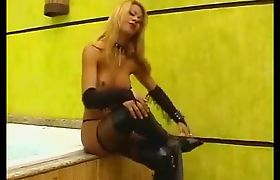 Sexy tranny gets naked and tugs on her hard cock