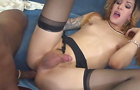 Small tits shemale Ryder Monroe anal nailed on the couch