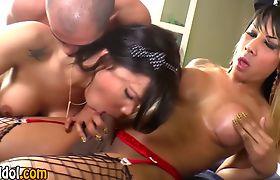 Ebony tgirls suck dicks in threesome