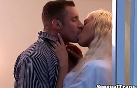 Bigtitted tgirl beauty assfucked by hubby