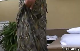 Beautiful blonde tranny suck cock and fucked in the ass