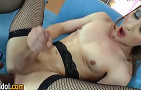 Toying and tugging tgirl cums