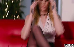 Lovely tgirl Casey Kisses loves a deep anal pounding