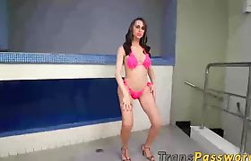 Hot tranny Gabriely Stankof knows how to pleasure herself