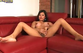 Sweet Carmen Moore masturbating on sofa