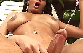 Latina tranny reveals bigtits and tugs her cock till orgasm