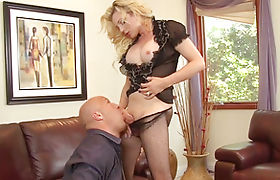 Busty tranny Tyra Scott gives head and enjoys big cock anal