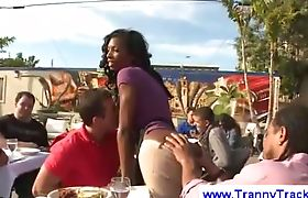 Black tranny sucks dick in public