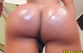 Tanlined latina tgirl analfucked up booty