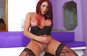 Huge tits shemale in lingerie jerking off her hard dick