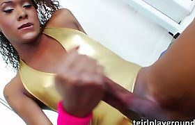 Tgirl babe Kayla Biggs plays her cock after a boxing session