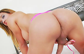 Busty shemale Marianna Araujo masturbates until she cums