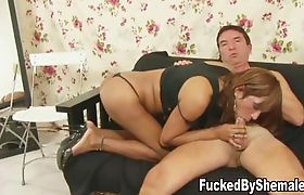 Perky tranny pounds guys butt until her cock erupts