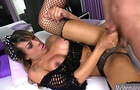 Busty TS Kessy Bittencour ass fucking with horny dude