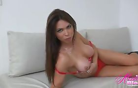 Hot Shemale Alessandra Blonde in a red bra