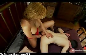 Busty tranny fucks tied up guy in bed