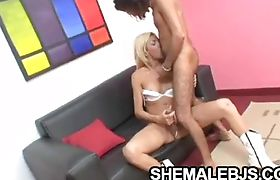 Blonde shemale Faxiana stroking while sucking