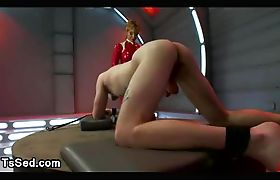 Busty tranny fucks tied up hairy guy in his asshole
