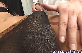 Stockinged shemale fucks
