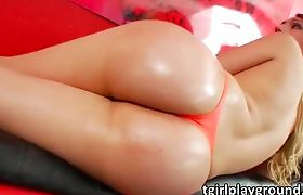 Sexy shemale latina Alessa Lopez shows off her hot butt and cums