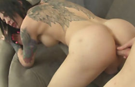 Tattooed shemale Chelsea Marie ass boned by hard dick